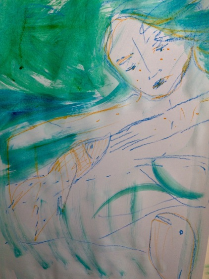 under. ink and watercolour crayon.