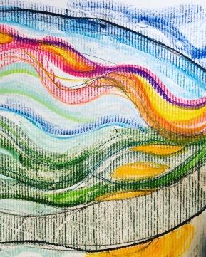 the flow. colour pencil over corrugation.