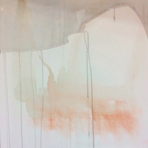 Painting on canvas. A sweep of grey watercolour along the top of the painting which drips down towards a pink nebulous shape towards the bottom of the canvas.