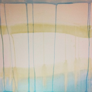 Watercolour painting using blue and yellow lines which drip and blend.